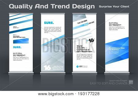 Abstract business vector set of modern roll Up Banner stand design template with blue grey lines, diagonal shapes for eco, market, exhibition, show, expo, presentation, parade, events.