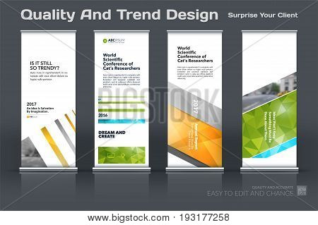 Abstract business vector set of modern roll Up Banner stand design template with colourful lines, diagonal shapes for eco, market, exhibition, show, expo, presentation, parade, events.