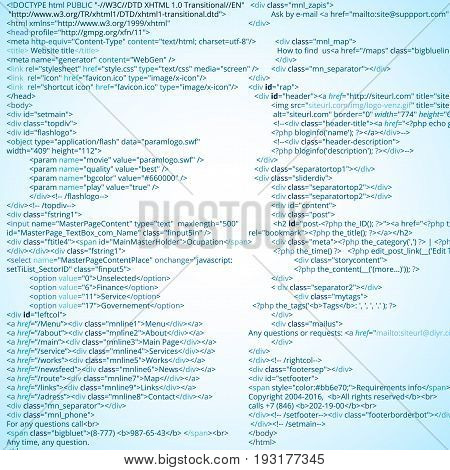 Website HTML abstract code blocks. web developing process vector illustration