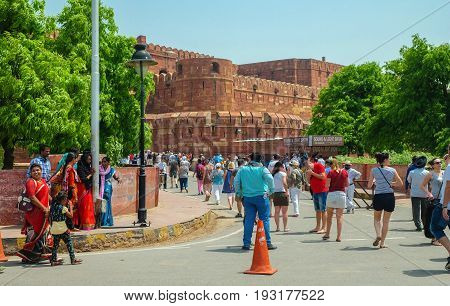 Agra India - April 30 2017 : Tourist walking to The gate of Red Fort in Agra Uttar Pradesh India
