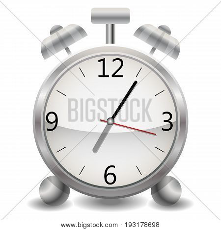 Metal mechanical realistic alarm clock, a clock showing five minutes after seven, end of the day, early morning.