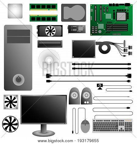 Computer Hardware Icons. Set of PC. Vector illustration
