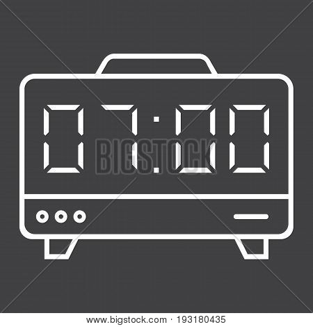 Digital clock line icon, electronic and alarm, vector graphics, a linear pattern on a black background, eps 10.