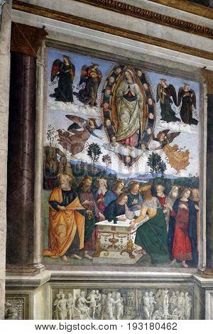 ROME, ITALY - SEPTEMBER 02: Assumption of the Virgin Mary frescoes by Pinturicchio in the Della Rovere Chapel of Church of Santa Maria del Popolo, Rome, Italy on September 02, 2016.