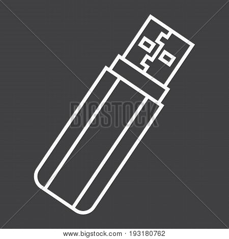 USB flash drive line icon, device and hardware, vector graphics, a linear pattern on a black background, eps 10.