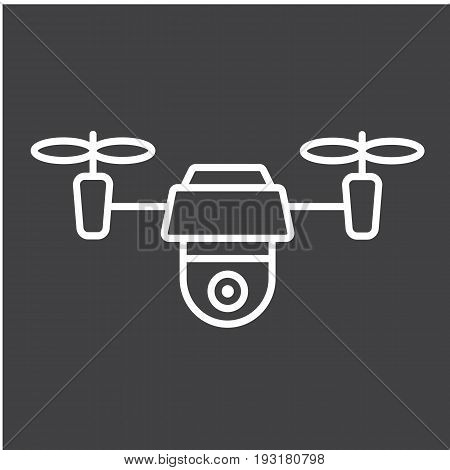 Drone line icon, fly and copter, vector graphics, a linear pattern on a black background, eps 10.