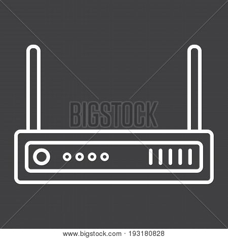 Router line icon, internet and wireless wifi, vector graphics, a linear pattern on a black background, eps 10.