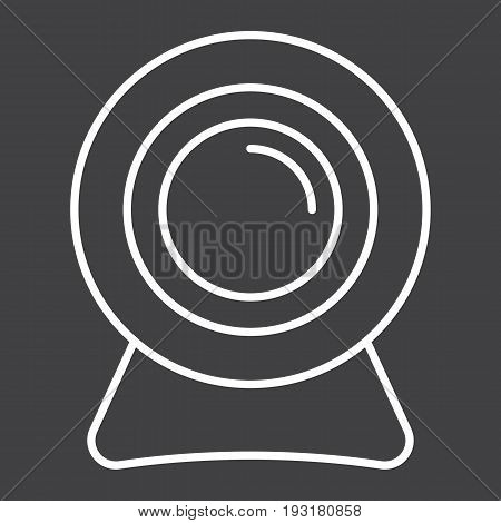 Webcam line icon, device and camera, vector graphics, a linear pattern on a black background, eps 10.