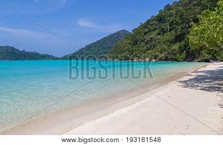 Ko Surin White Sand Beach And Turquoise Blue Sea Thailand