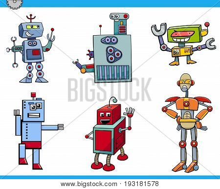 Cartoon Illustration of Robot Science Fiction or Fantasy Characters Set