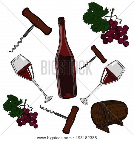 Hand drawn vector set - wine and winemaking. Vector illustration, EPS 10