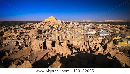 Panorama of old city Shali and mountain Dakrour in Siwa oasis, Egypt
