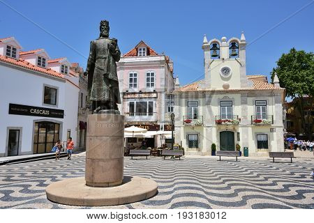 Little Square In Cascais Portugal.