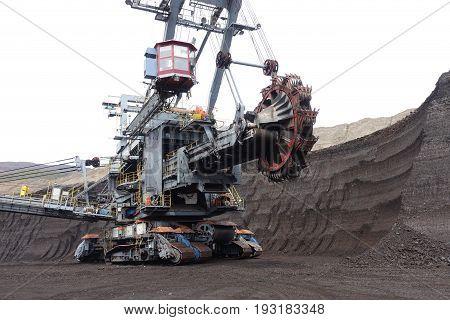 excavator mining machine in brown coal mine