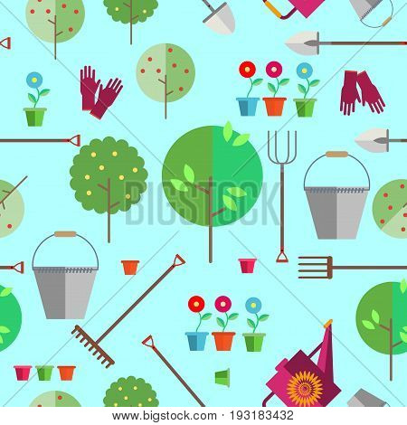Seamless pattern on a light background. Agriculture or horticulture. Fruit trees. Gloves, watering can, bucket, shovel, pitchfork, rakes, flower pots. Illustration in the style of flat.