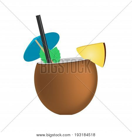 Coconut fresh cocktail pina colada isolated on white background