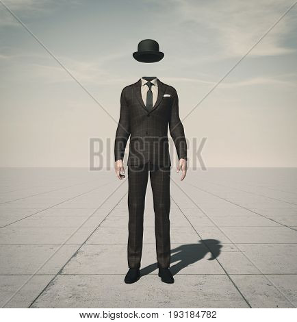 An unkhown person in business suit. This is a 3d render illustration.