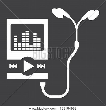 Music player solid icon, mp and device, vector graphics, a glyph pattern on a black background, eps 10.