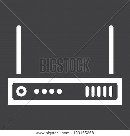 Router solid icon, internet and wireless wifi, vector graphics, a glyph pattern on a black background, eps 10.