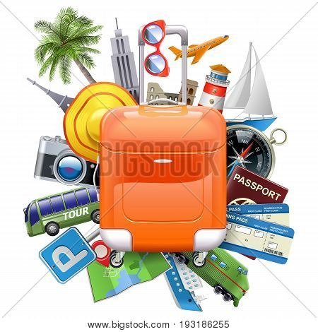 Vector Travel Concept with Rolling Bag isolated on white background