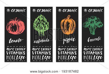 Hand drawn vegetable label set with lettering. Tomato artichoke pepper broccoli. Eco bio organic farm product.