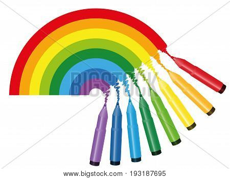 Rainbow coloring picture - eight colorful markers are drawing the spectrum colors of a rainbow - isolated vector illustration on white background.
