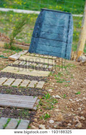 Slab Wooden Walkway With Black Plastic Compost Bin In Town Garden