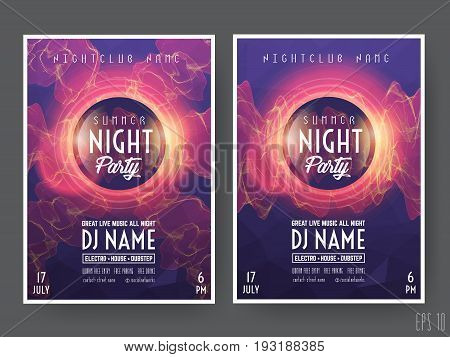 Summer Night Club Party Flyer or Poster Layout Template. Musical electro concert in the style of house, dubstep, techno, minimal, trance, Drum and Bass or Indie rock.Background of electric discharge.