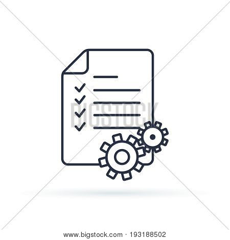 Project Management Vector Line Icon. Clipboard Icon. Illustration Concepts For Business Planning, Pr