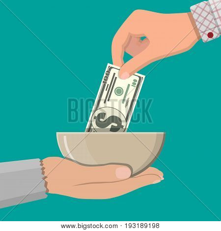 Hand giving dollar banknote to beggar hand. Charity concept. Vector illustration in flat style