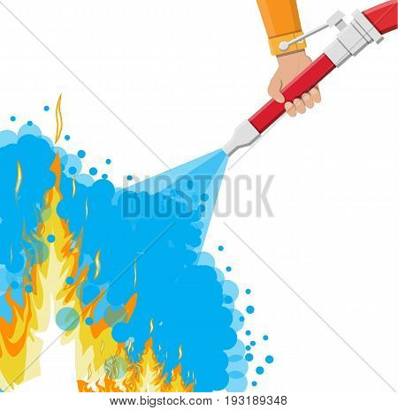Water hose in hand to extinguish the fire. Fire equipment. Vector illustration in flat style