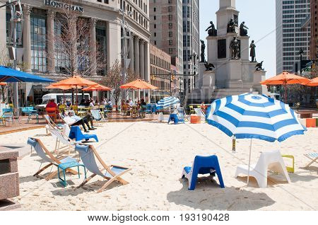 DETROIT, MI - MAY 8: View of People enjoying the revitalized Campus Martius park in Detroit, MI on May 8, 2014