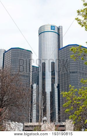 DETROIT, MI - MAY 8: View of General Motors World Headquarters where the majority of GM operations are based in downtown Detroit on May 8, 2014