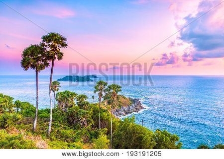 Landscape viewpoint of Laem Phromthep Cape at sunset sky. The most famous tourist attraction in Phuket province Thailand.