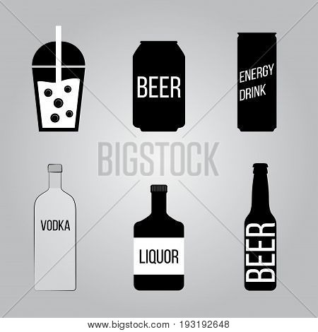 Drinks icons set. Beer Vodka Liquor Shake Energy drink