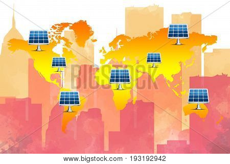 Energy Conservative Concept : Many solar cell standing on world map with watercolor skyline background. (3D Illustration)