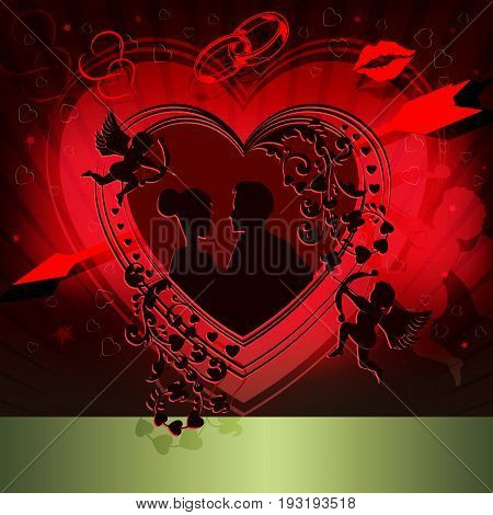 Red design with a silhouette of the heart with an arrow, Cupid, enamored men and girls