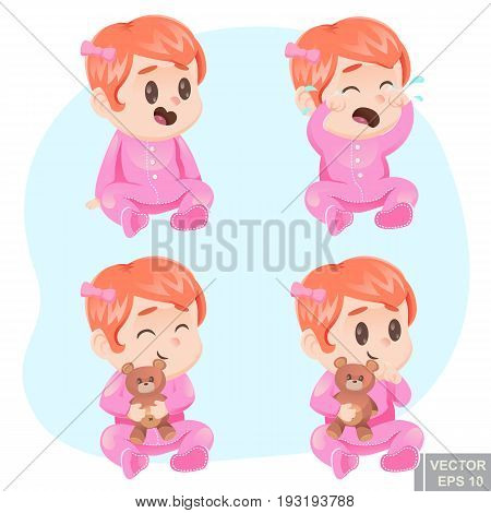 Vector Illustration Cute Cartoon Baby Girl In Pajamas With Teddy Bear Happy Sad Calm, Crying, Laughi