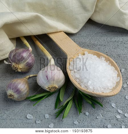 Garlic Bulbs And Sea Salt