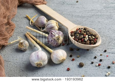 Garlic Bulbs And Pepper Mix