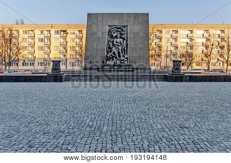 WARSAW, POLAND - SEPTEMBER 10, 2015 The Monument to the Ghetto Heroes commemorates the fight against the Nazis during the uprising in 1943 It was created by Nathan Jakow Rappaport in 1948