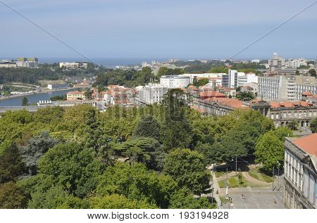 PORTO, PORTUGAL - AUGUST 7, 2015: Panoramic view of the city the Douro river and the Atlantic Ocean from the Clerigos Tower in Porto Portugal