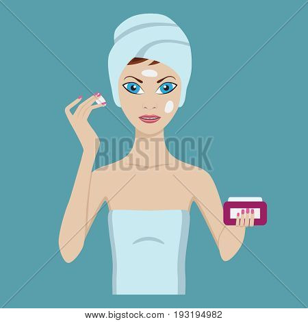 Attractive young woman care her face and skin, using cream. Facial treatment procedures.