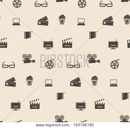 Seamless pattern cinematic theme. Vintage background with film frame