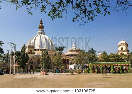 Temple of International Society for Krishna Consciousness (ISKON) - Gaudiya Vaishnava Hindu religious organisation at Mayapur near Nabadwip West Bengal India. It is birthplace of Chaitanya Mahaprabhu.