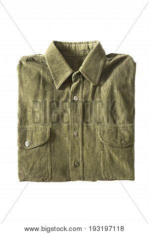 Folded khaki corduroy shirt isolated over white