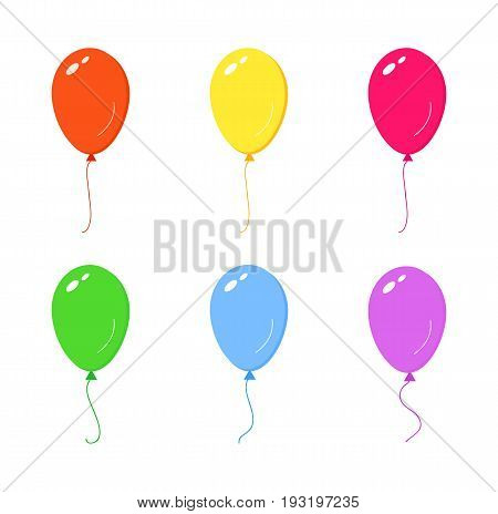 Colorful helium balloons isolated on white background. Vector stock.