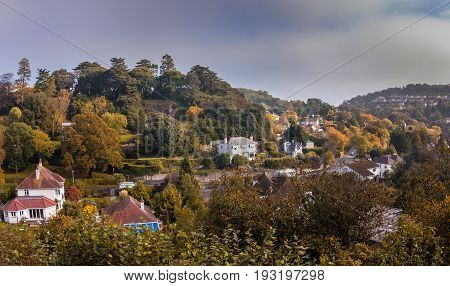 A view of the coastal streets of the outskirts of Torquay. Autumn morning. Devon. England