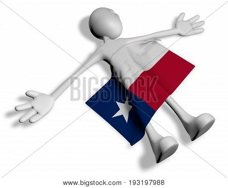 dead cartoon guy and flag of texas - 3d illustration