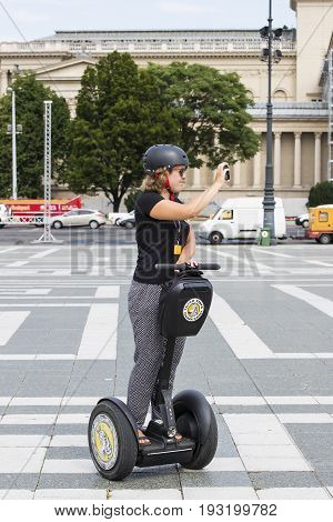 BUDAPEST, HUNGARY. 23 JUNE, 2017:Tourists on the streets of Budapest excursion to Segway